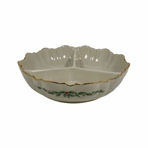 Lenox Holiday Divided 3 Part Condiment Nut Dish
